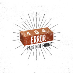 404 error page with brick. concept of 404 error page. Illustration for page 404 errors. Page not found message. Template for web design. Roughen retro design.