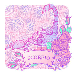 Zodiac sign Scorpio. Detailed realistic scorpio in a decorative frame of roses. Vector drawing isolated on floral pattern. Concept art for tattoo design, horoscope, coloring book for adults page.