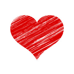 Vector Red Scratched Heart Icon Over White