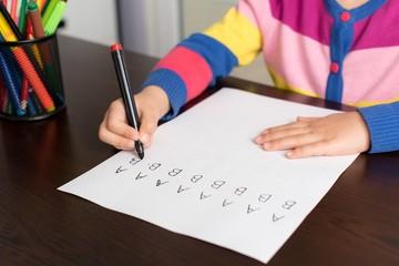 Little Girl Writing Letters