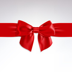 Red Bow of Satin Ribbon