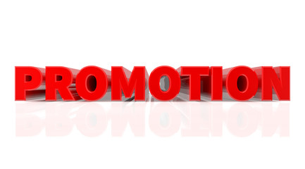 3D PROMOTION word on white background 3d rendering