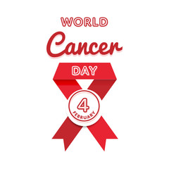 World Cancer Day emblem isolated vector illustration on white background. 4 february international healthcare holiday event label, greeting card decoration graphic element