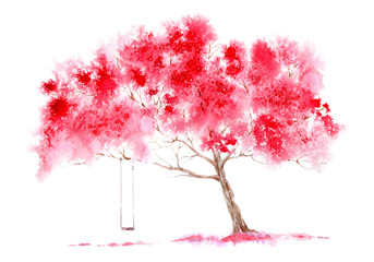 Blossom cherry tree and swing. Spring landscape. Watercolor hand drawn illustration.