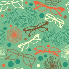 Pattern back seamless background with optical glasses and sunglasses