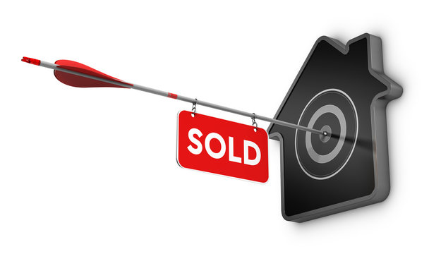Home Sold Sign Over White Background, Real Estate Concept