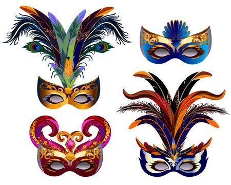Carnival mask set isolated on white.