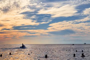 Motorboat departures in the sea