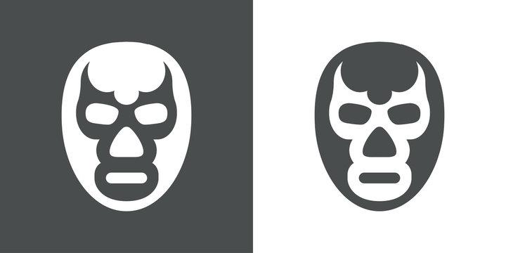 Icono plano mascara luchador gris y blanco