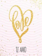 Valentine gold love heart glitter pattern card