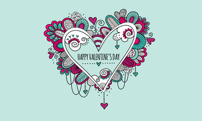 Happy Valentine's Day Hand Drawn Doodle Vector - Colorful love heart doodle illustration with hearts, swirls and abstract shapes and the words happy valentine's day.