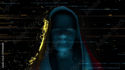 3d render computer theme background  Anonymous person with