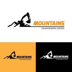 Backhoe and excavator logo template.
