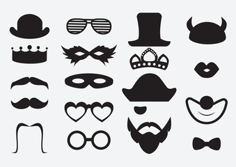 Photo booth props vector. Carnival and birthday party icon elements. Black mustaches and hats set.