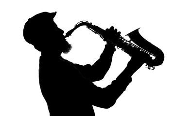 shape of jazz saxophonist