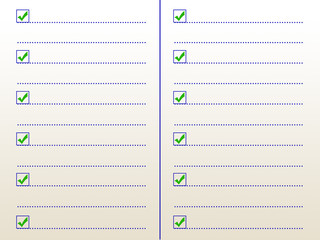Check mark. Notebook with checklist for note. Tick and cross mar