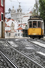 Old tram in the streets of Lisbon