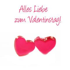 Alles Liebe Zum Valentinstag!, Valentinstag, Zwei Rote Herzen Mit Schrift,  Freigestellt,