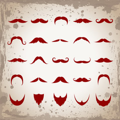 Mustache And Beard Set-Isolated.Vector Illustration,Graphic Design.For Web Site,App,Print,Presentation Templates,Mobile Applications And Promotional Materials.Modern Hand Drawn Cartoon Collection