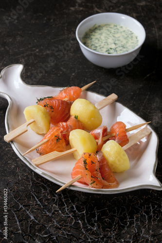 Delicious appetizer with smoked salted salmon and boiled for Creamy sauce served with fish