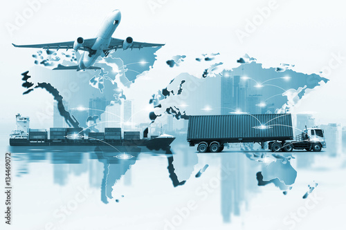 Quot Container Truck Ship In Port And Freight Cargo Plane In