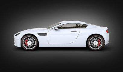 sport car vehicle side view on black gradient background 3d