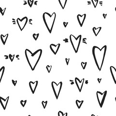 Vector seamless pattern with hearts. Ink illustration isolated on white background.