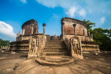 The polonnaruwa watadagaya ancient ruins in Sri Lanka