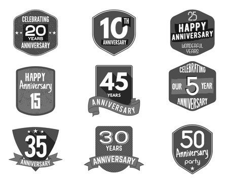 Anniversary badge set. Illustration of  signs and emblems. Flat  logo designs in   retro styles. Easy to edit  use your number, texts.  stamp vector isolated