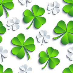 Background seamless pattern with 3d Patricks clover