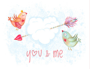 Valentines Day hand drawn congratulation card vector. Couple birds flying in clouds in form of heart with cupid arrow. Not autotrace