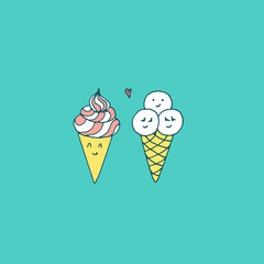 Kawaii sweet ice cream couple. Vector hand drawn illustration with Japanese style sketches. Minimalistic childish drawing in candy colors