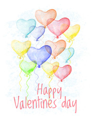 Saint valentine's Day hand drawn card. Congratulation cover with multicolor balloons