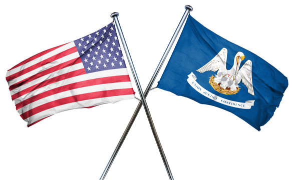 louisiana and USA flag, 3D rendering, crossed flags