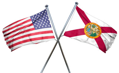 florida and USA flag, 3D rendering, crossed flags