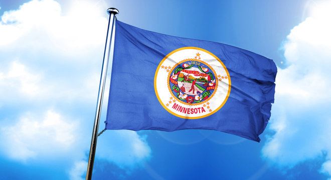 minnesota flag, 3D rendering, on a cloud background