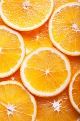 close up of orange slices background