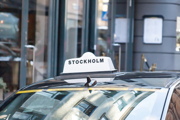 the taxi car on the street