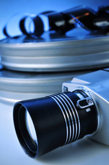 film camera and movie film reel canisters
