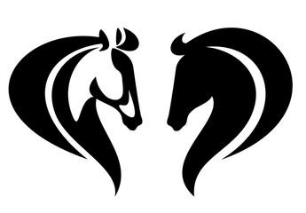 horse head profile simple black and white vector design