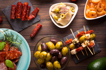 Top view of Mediterranean snacks - tapas