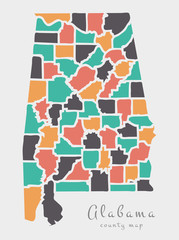 Modern Map - Alabama county map USA round shape