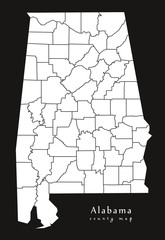 Modern Map - Alabama county map USA black and white silhouette