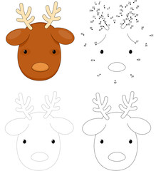 Christmas cartoon reindeer. Dot to dot game for kids