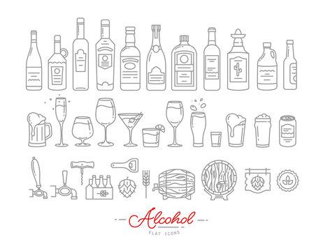 Flat alcohol icons