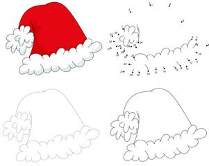 Christmas cartoon hat. Dot to dot game for kids
