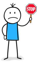 Figur mit Stop Schild in der Hand