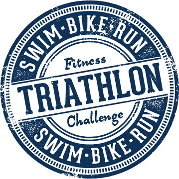 Triathlon Swim Bike Run Race Stamp