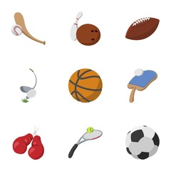 Sports stuff icons set, cartoon style