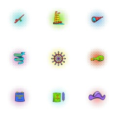 Search of mainland icons set, pop-art style